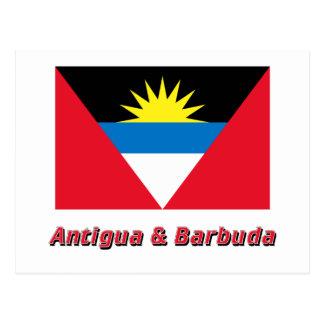 Antigua and Barbuda Flag with Name Postcard