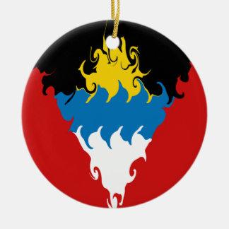 Antigua and Barbuda Gnarly Flag Ceramic Ornament