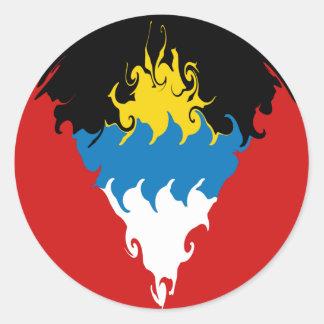 Antigua and Barbuda Gnarly Flag Classic Round Sticker