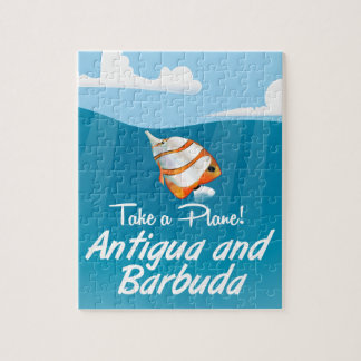 Antigua and Barbuda holiday travel poster cartoon. Jigsaw Puzzle
