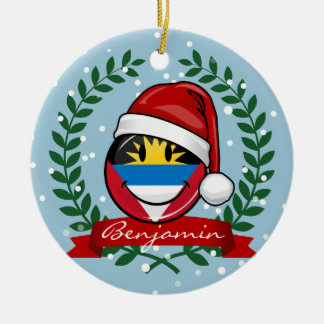 Antigua and Barbuda Smiley Christmas Style Ceramic Ornament