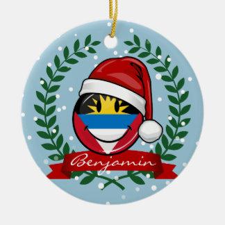 Antigua and Barbuda Smiley Christmas Style Ceramic Ornament