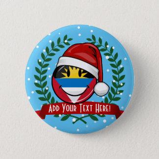 Antigua and Barbuda Smiley Christmas Style Pinback Button