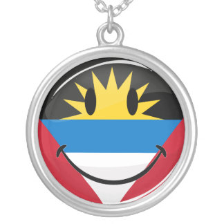 Antigua and Barbuda Smiley Silver Plated Necklace