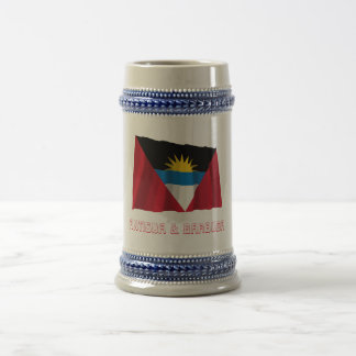 Antigua and Barbuda Waving Flag with Name Beer Stein