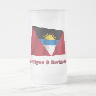 Antigua and Barbuda Waving Flag with Name Frosted Glass Beer Mug