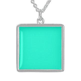 Antigua Aqua Aquamarine Blue Green Tropical Square Pendant Necklace