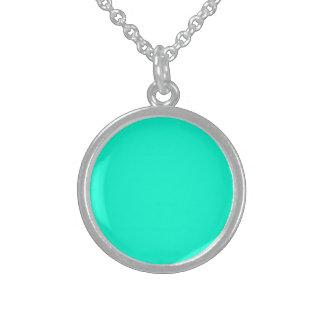 Antigua Aqua Aquamarine Blue Green Tropical Round Pendant Necklace