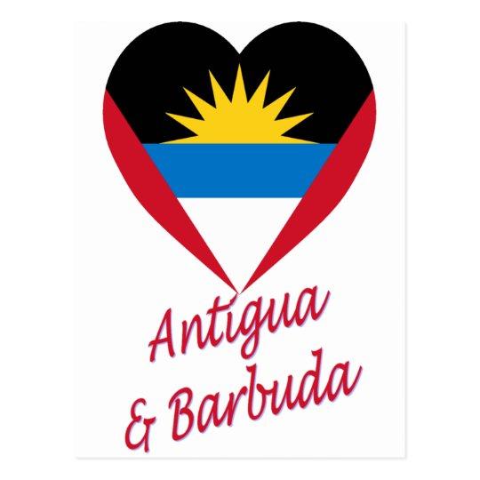 Antigua & Barbuda Flag Heart Postcard