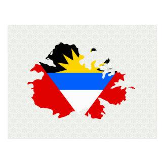 Antigua Flag Map full size Postcard