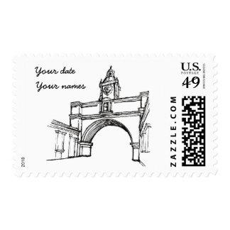 Antigua Guatemala - Arch Sketch w dates Postage
