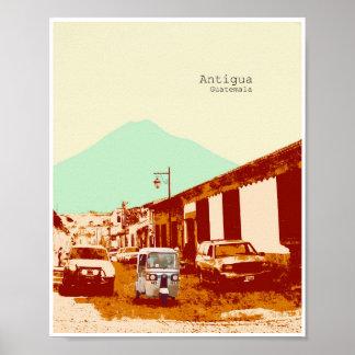 Antigua Guatemala Tuc Tuc and Volcano Poster