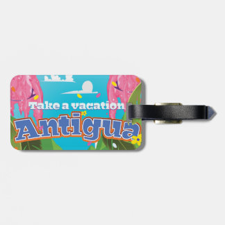 Antigua island vintage travel poster art. bag tag