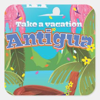 Antigua island vintage travel poster art. square sticker