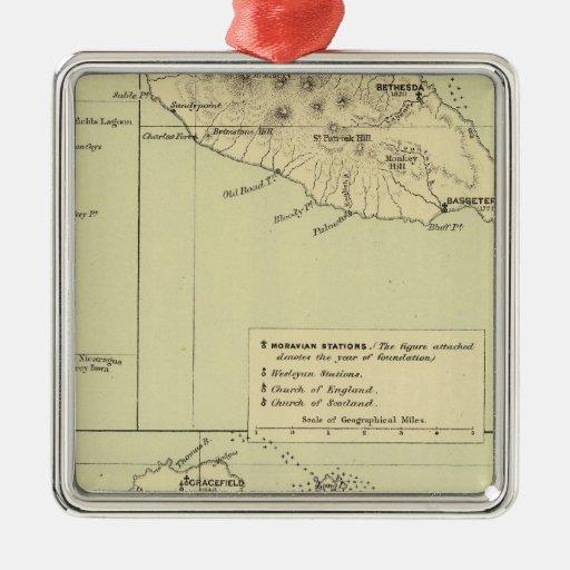 Antigua litografió el mapa adorno navideño cuadrado de metal