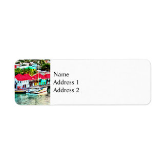 Antigua - St. Johns Harbor Early Morning Return Address Label