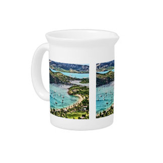 Antigua View Falmouth Harbor Beverage Pitcher