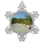 Antiguan Beach Beautiful Tropical Landscape Snowflake Pewter Christmas Ornament
