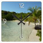 Antiguan Beach Beautiful Tropical Landscape Square Wall Clock