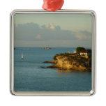 Antiguan Coast Beautiful Island Seascape Square Metal Christmas Ornament