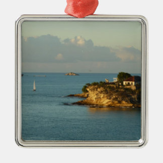 Antiguan Coast Beautiful Island Seascape Silver-Colored Square Ornament