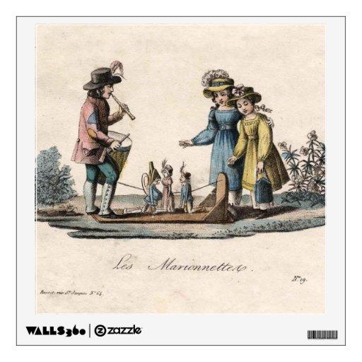 Antigüedad de las marionetas de los niños del vinilo decorativo
