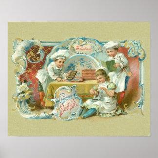 Antigüedad de los panaderos del chocolate póster