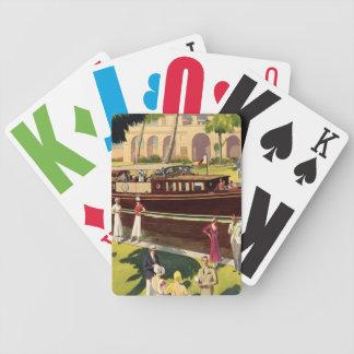 Antigüedad del vintage del barco de motor de la ve cartas de juego