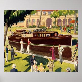 Antigüedad del vintage del barco de motor de la ve póster