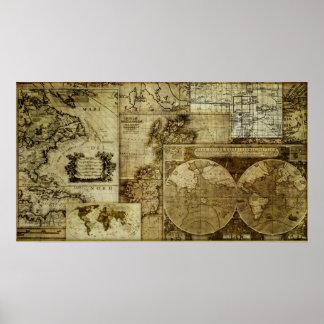 Antigüedad del vintage y rústico, mapas del mundo póster