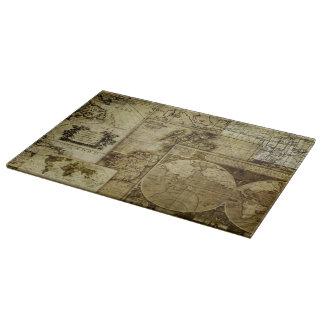 Antigüedad del vintage y rústico, mapas del mundo tabla de cortar