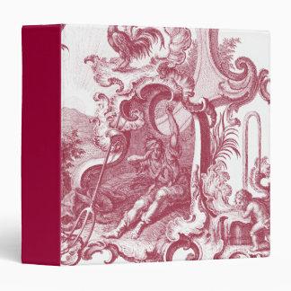 """Antigüedad francesa elegante Red Toile de Jouy del Carpeta 1 1/2"""""""