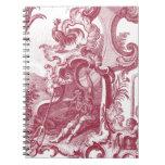 Antigüedad francesa elegante Red Toile de Jouy del Libreta