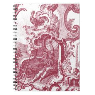 Antigüedad francesa elegante Red Toile de Jouy del Libro De Apuntes Con Espiral