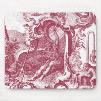Antigüedad francesa elegante Red Toile de Jouy del Mouse Pads