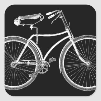 Antigüedad negra de la bicicleta del vintage/ciclo calcomanias cuadradas