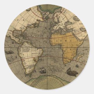 Antigüedad, pegatinas del mapa de Viejo Mundo del Pegatinas Redondas