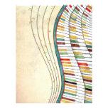 Antigüedad retra de los colores del piano ondulado tarjetón