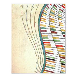 """Antigüedad retra de los colores del piano ondulado invitación 4.25"""" x 5.5"""""""