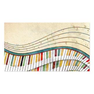 Antigüedad retra de los colores del piano ondulado plantillas de tarjeta de negocio