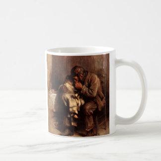 Antigüedad sin madre del bebé del padre del niño d taza de café