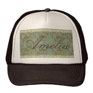 Antigüedad, vintage, aguamarina, floral, cordón, gorra