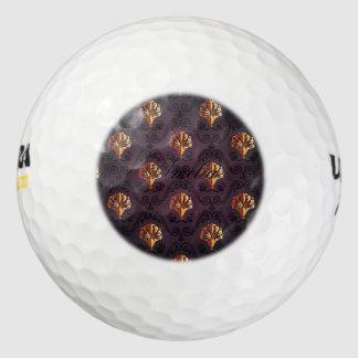 antigüedad, vintage, flor de lis, damasco, oro pack de pelotas de golf