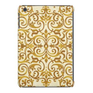 antigüedad, vintage, oro, damasco, floral, modelo, funda de iPad mini