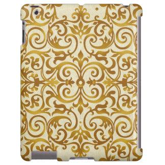 antigüedad, vintage, oro, damasco, floral, modelo, funda para iPad