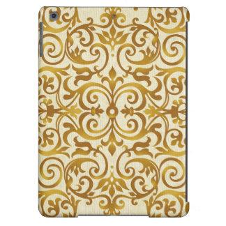 antigüedad, vintage, oro, damasco, floral, modelo, funda para iPad air
