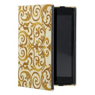 antigüedad, vintage, oro, damasco, floral, modelo, iPad mini funda