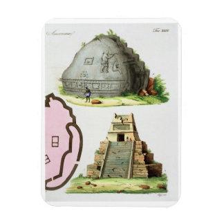 Antigüedades centroamericanas, detalle del pyrami  imán rectangular