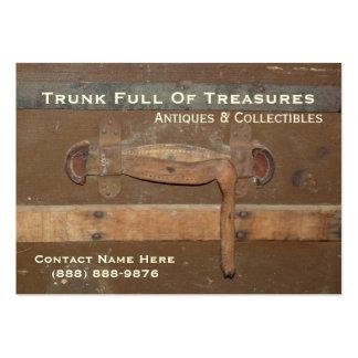 Antigüedades y tronco de madera viejo de los colec tarjeta de visita