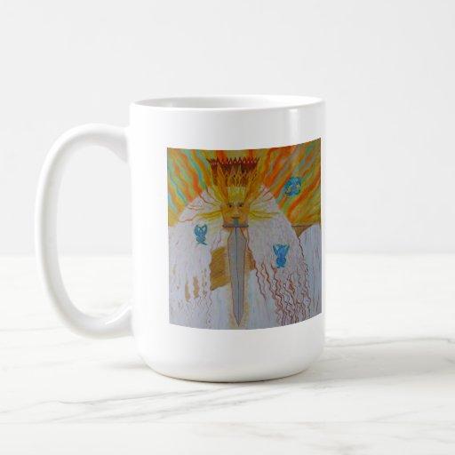 Antiguo de arte cristiano de la pintura de dios de taza de café